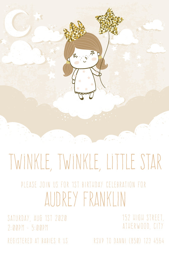 1st birthday twinkle twinkle little star invitation