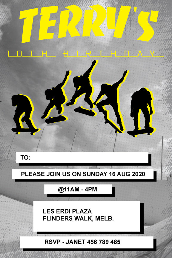 Thrasher magazine,Skateboard birthday invitation, skateboard birthday party invitation,