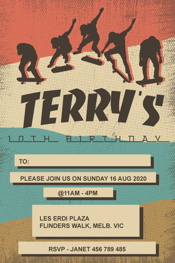 Skateboard birthday invitation, skateboard birthday party invitation,