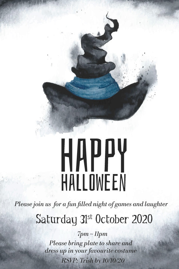 Witch's hat Halloween party invitation,