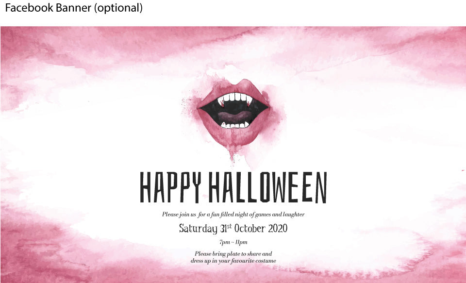 Vamire mouth teeth and fangs halloween party invitation facebook banner