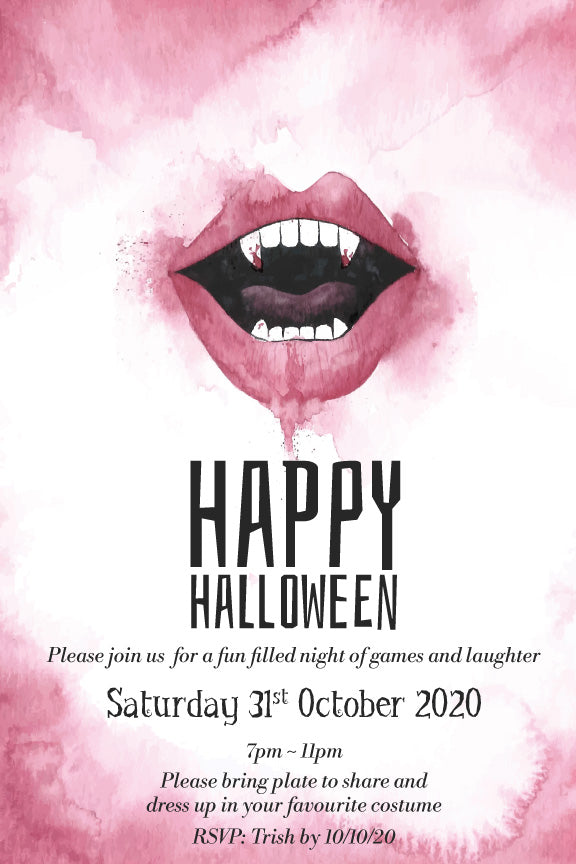 Vamire mouth teeth and fangs halloween party invitation