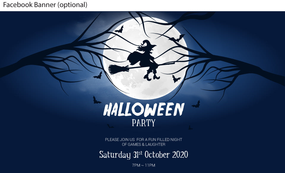 Flying witch in the moonlight Halloween Party Invitation