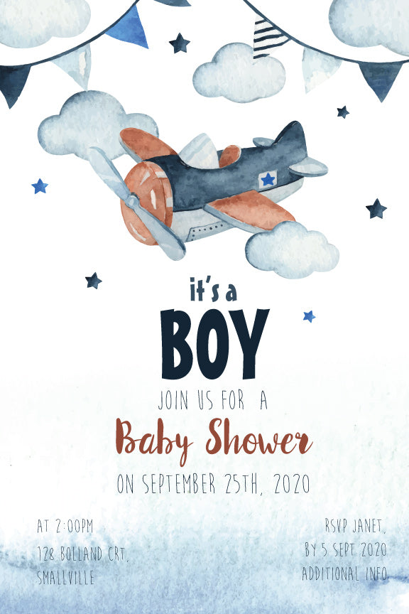 Watercolour aeroplane boys baby shower invitation