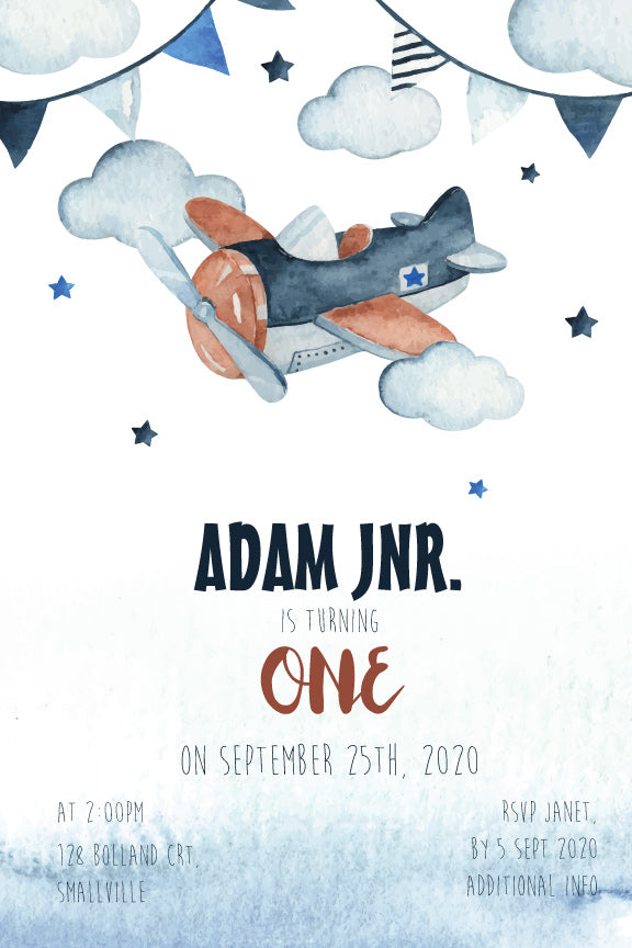 Cute Aeroplane Birthday Invitation