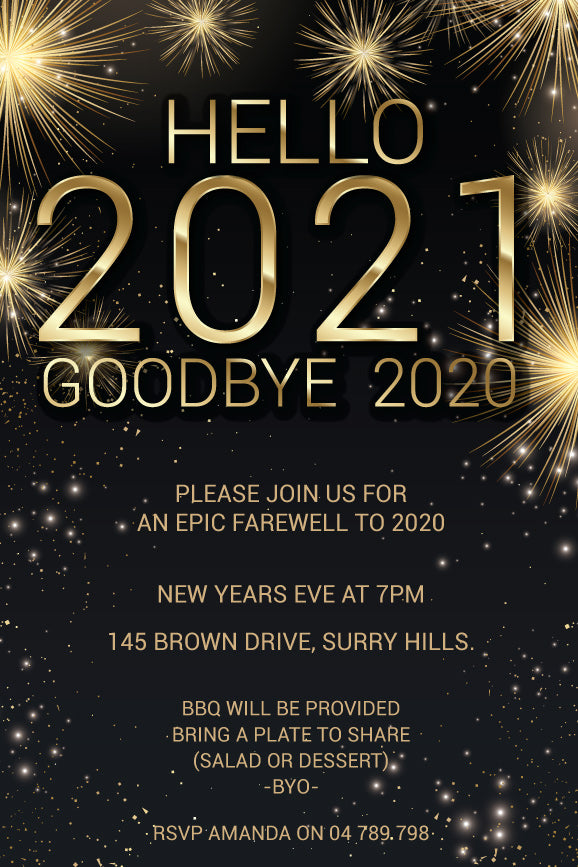 Black and gold fireworks New years eve invitations