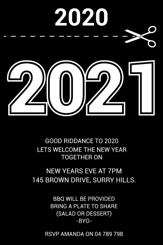 Black and white funny New Years Eve invitations