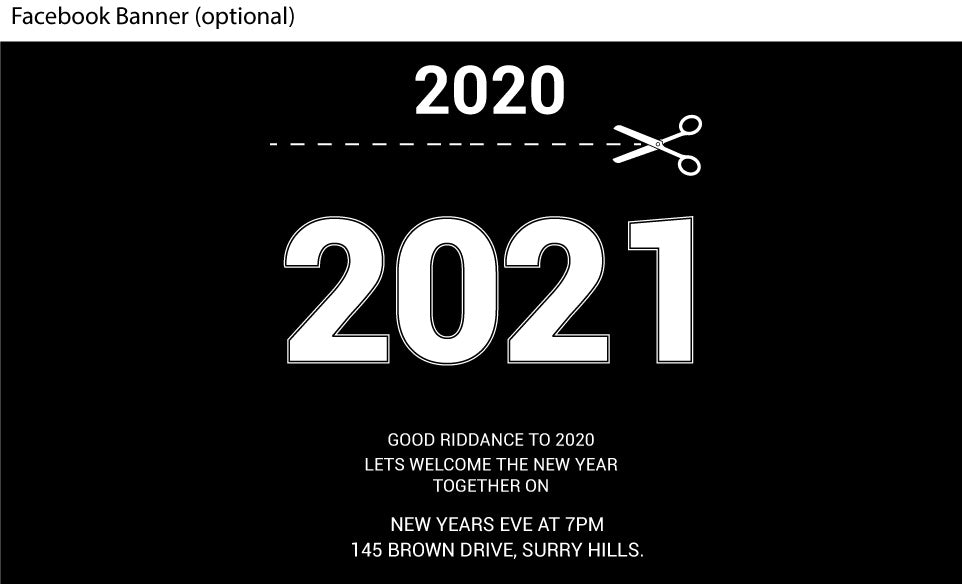 Black and white funny New Years Eve invitations facebook banner