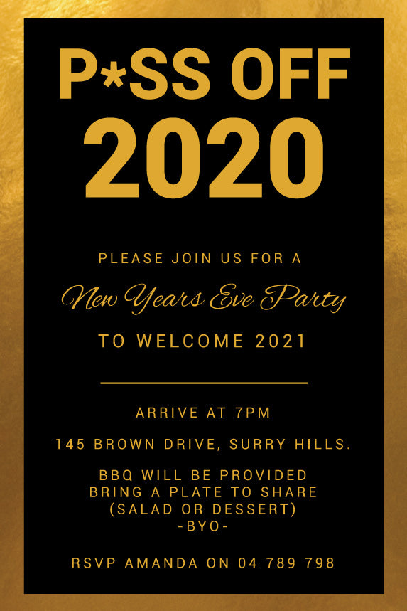 Piss off New Years Eve Party invitations