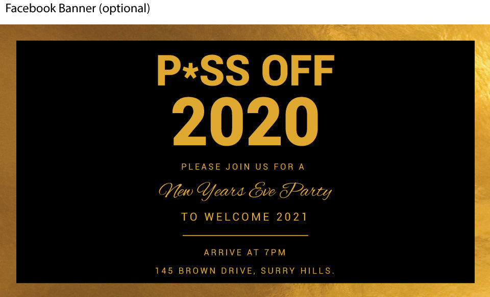 Piss off New Years Eve Party invitations facebook banner