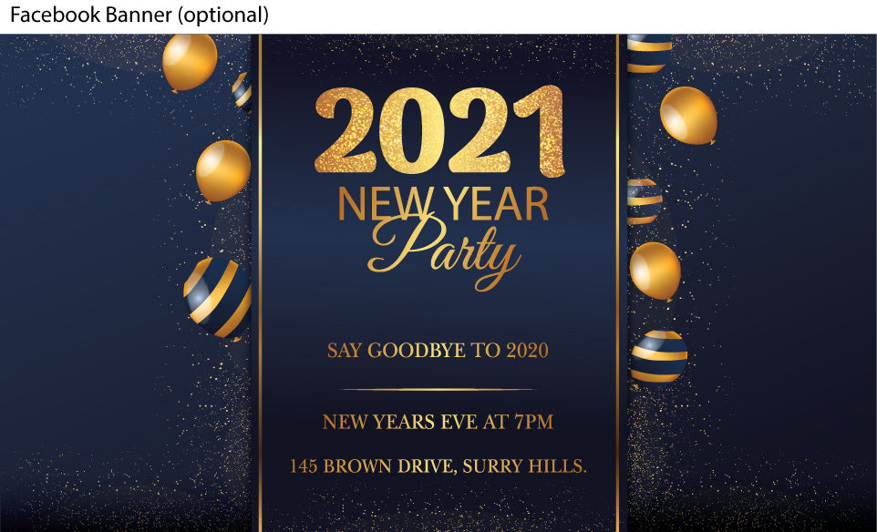 Gold balloons with Navy New Years Eve Party invitations facebook banner
