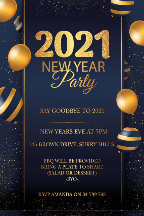 Gold balloons with Navy New Years Eve Party invitations