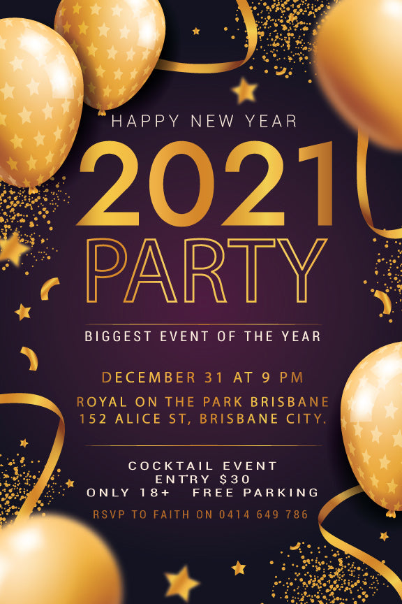 Party style New Years Eve Party invitations with balloons and streamers