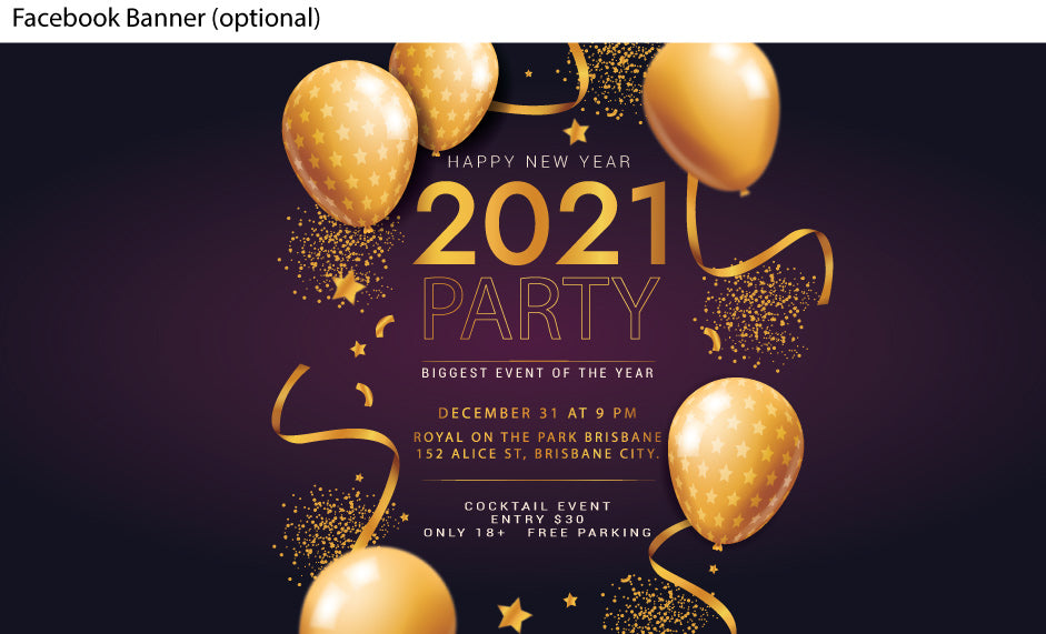 Party style New Years Eve Party invitations with balloons and streamers (FACEBOOK)