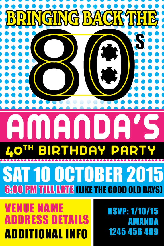80's birthday invitations, 80's party invitation,