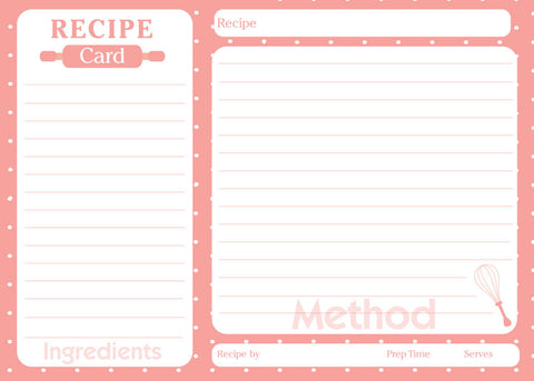 pink bridal shower recipe card, wedding shower recipe card,