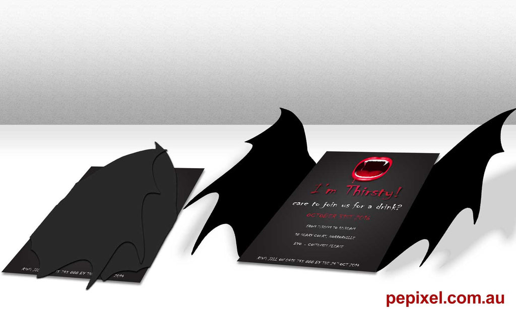 Halloween Party Invitations - Thirsty Vampire