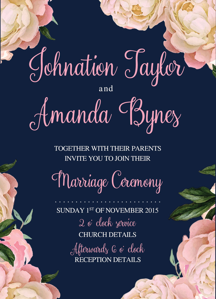 Navy and pink floral wedding invitation,