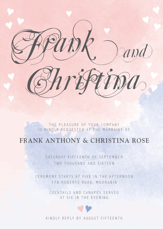 pink and blue watercolor wedding invitation,