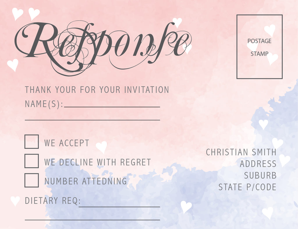 pink and blue watercolor wedding invitation RSVP card,