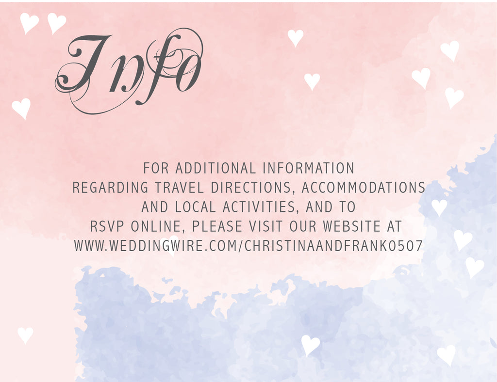 pink and blue watercolor wedding invitation information card,