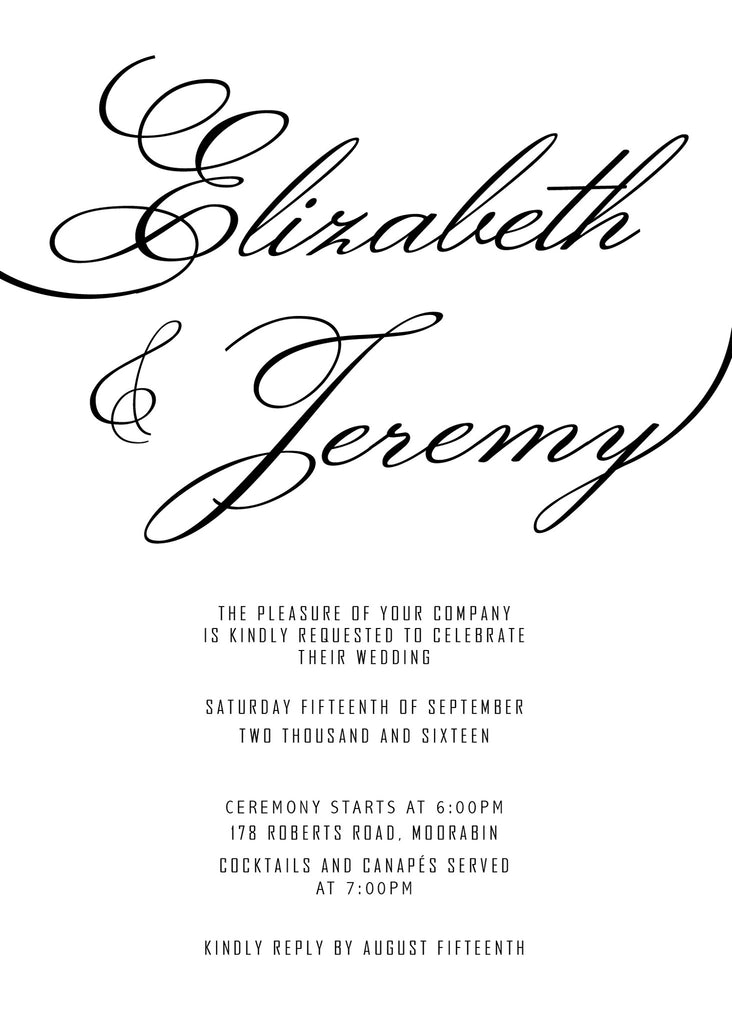 plain white wedding invitation,