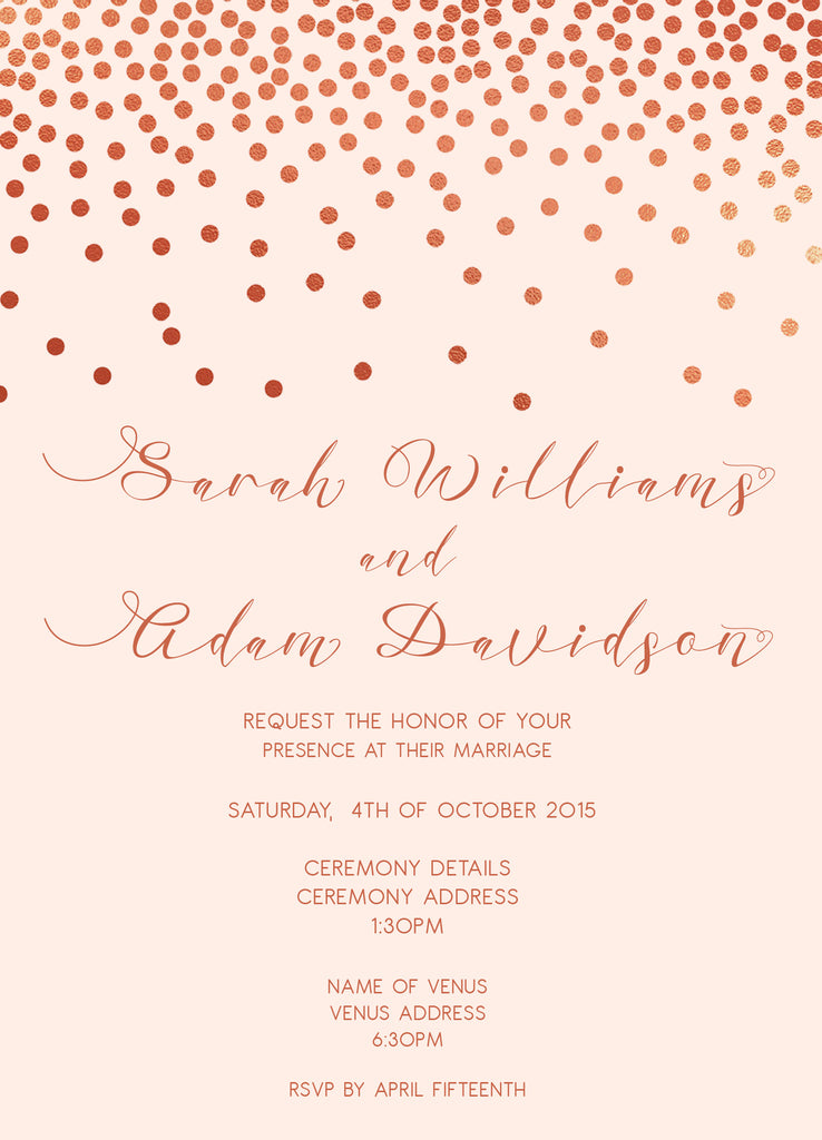 Cream with rose gold confetti wedding invitation,