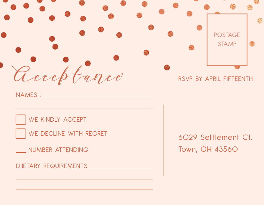 Cream with rose gold confetti wedding invitation RSVP card,