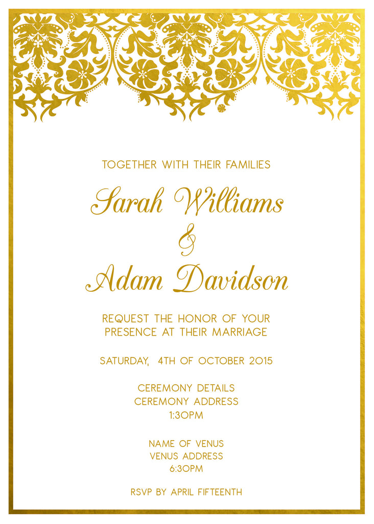 White and gold damask wedding invitation,