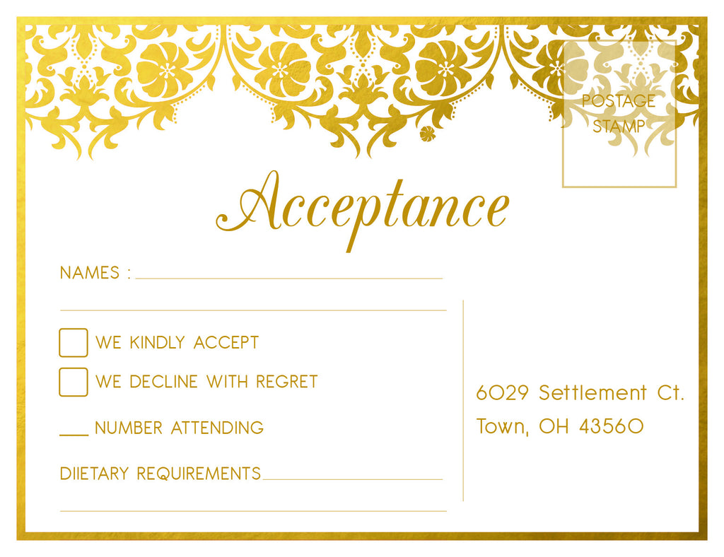 White and gold damask wedding RSVP card,
