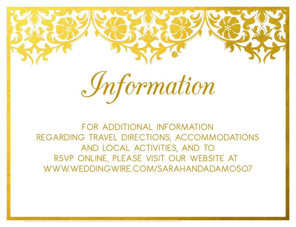 White and gold damask wedding information card,