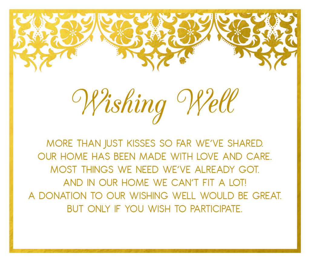 White and gold damask wedding Wishing well card,
