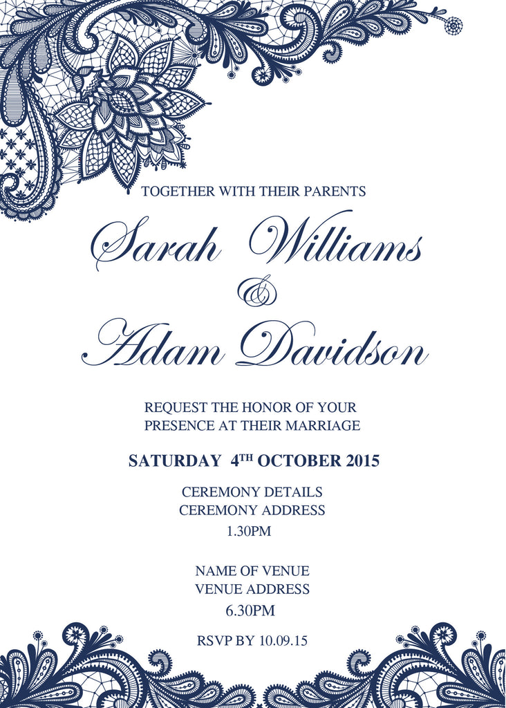 White with navy floral lace wedding invitation,