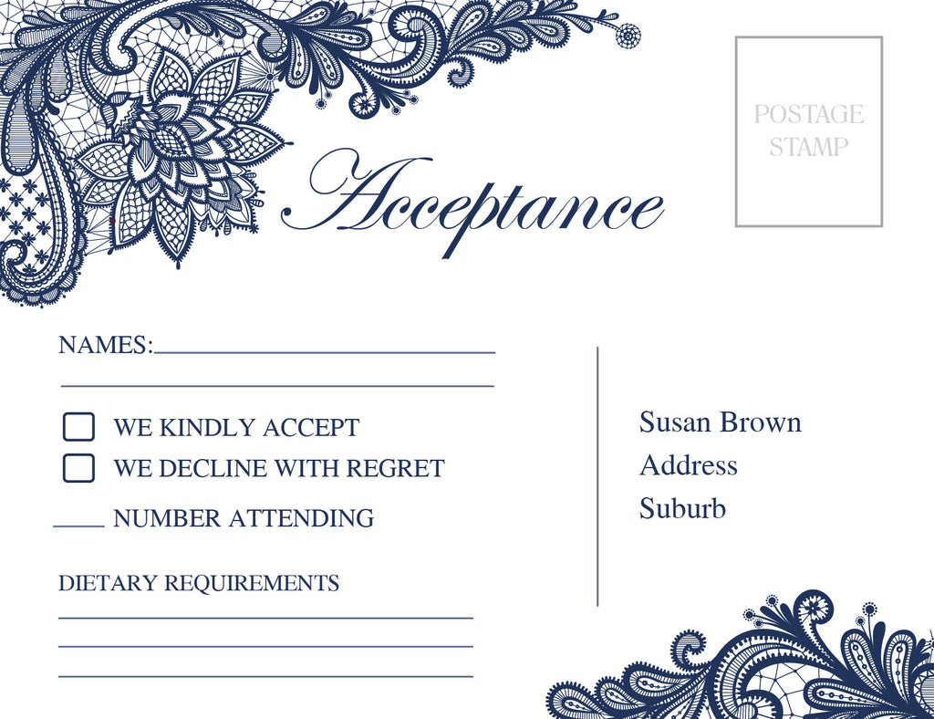 White with navy floral lace wedding RSVP Card,