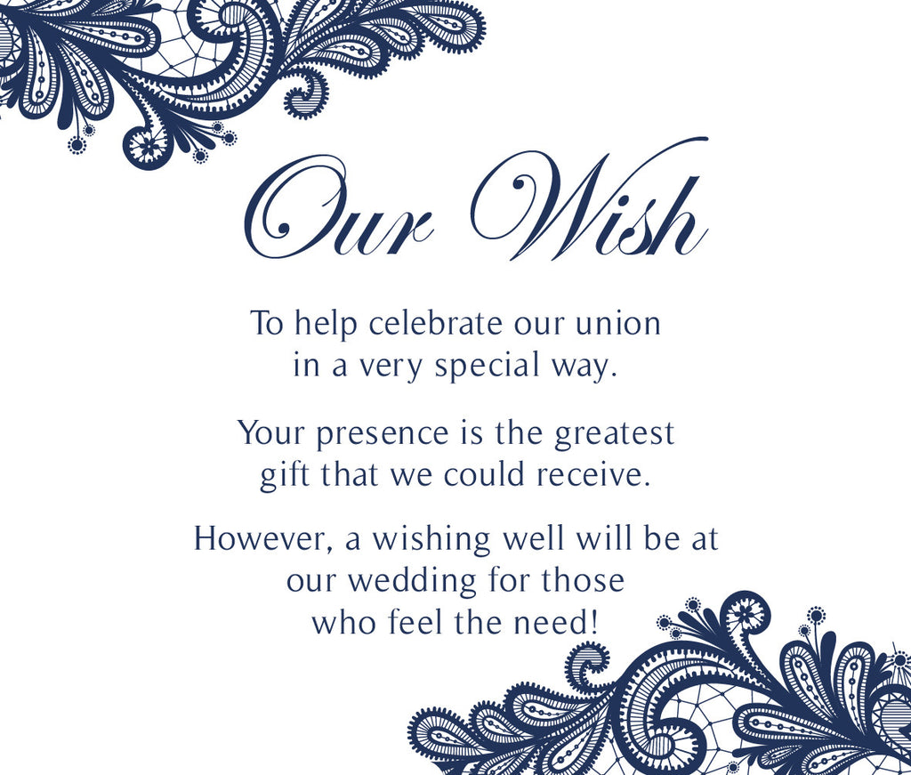White with navy floral lace wedding wishing well card,