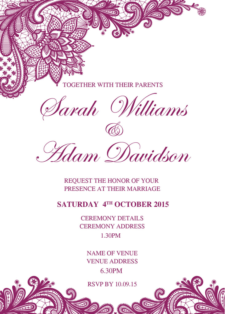 white with Purple floral lace wedding invitation,