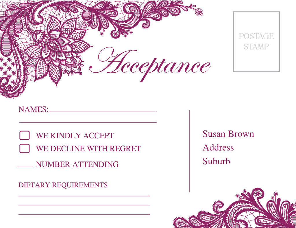 white with Purple floral lace wedding invitation RSVP card,
