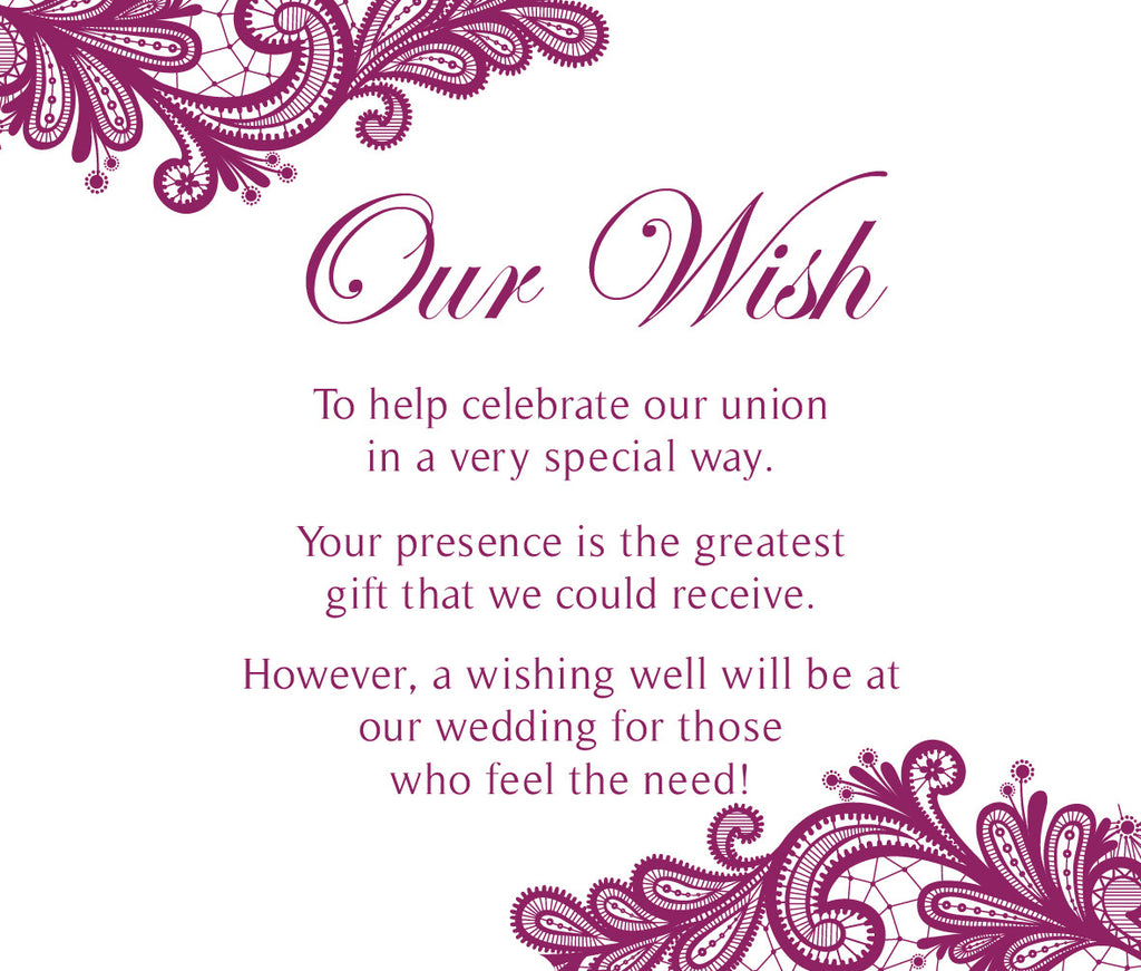 white with Purple floral lace wedding invitation wishing well card,