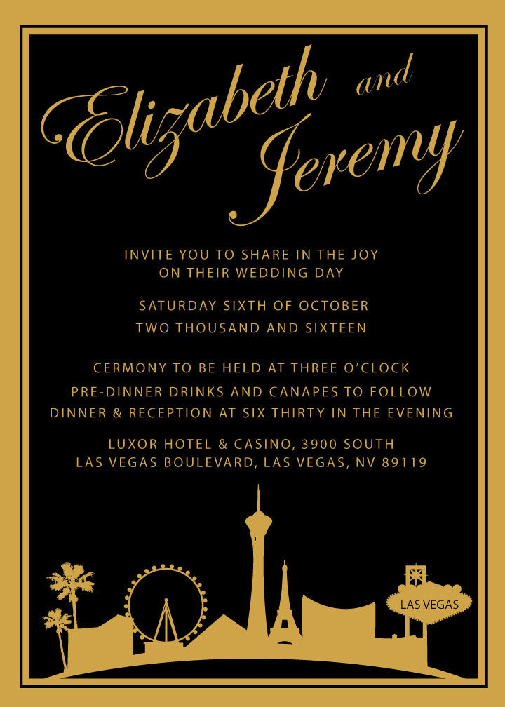 Black and gold Las Vegas wedding invitation,