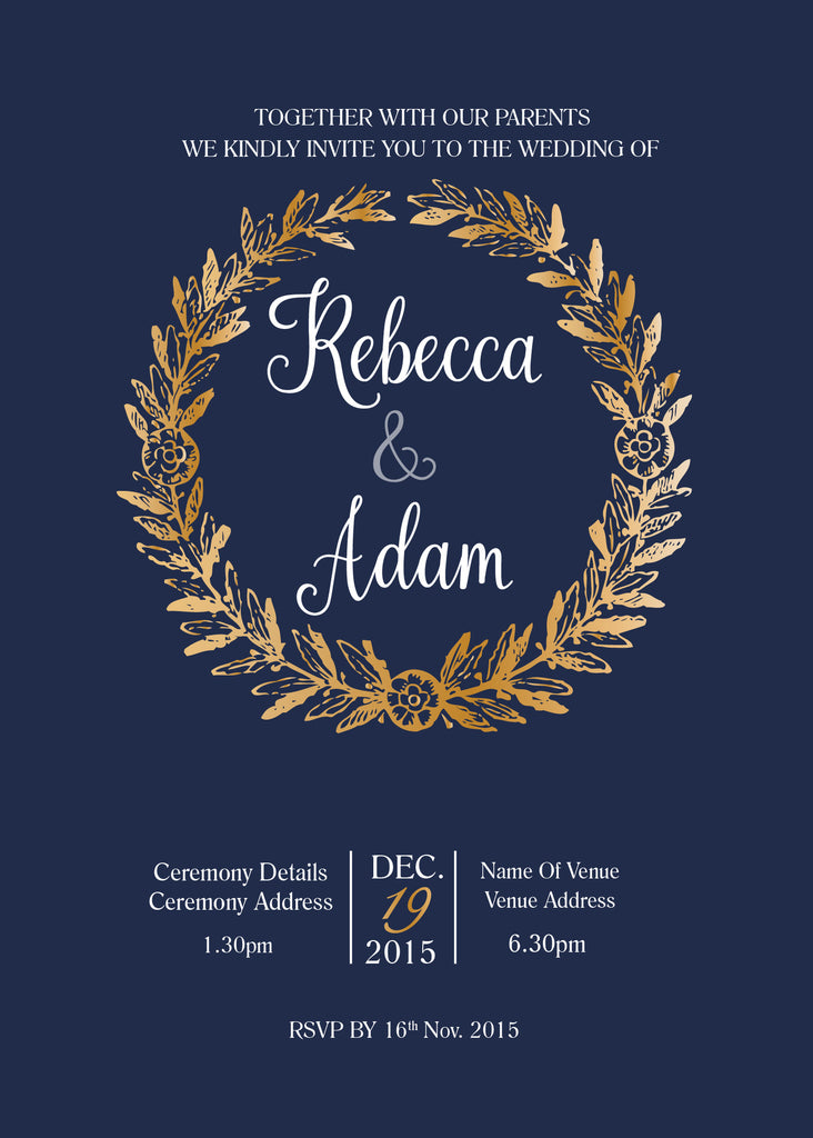 navy with gold wreath wedding invitation,