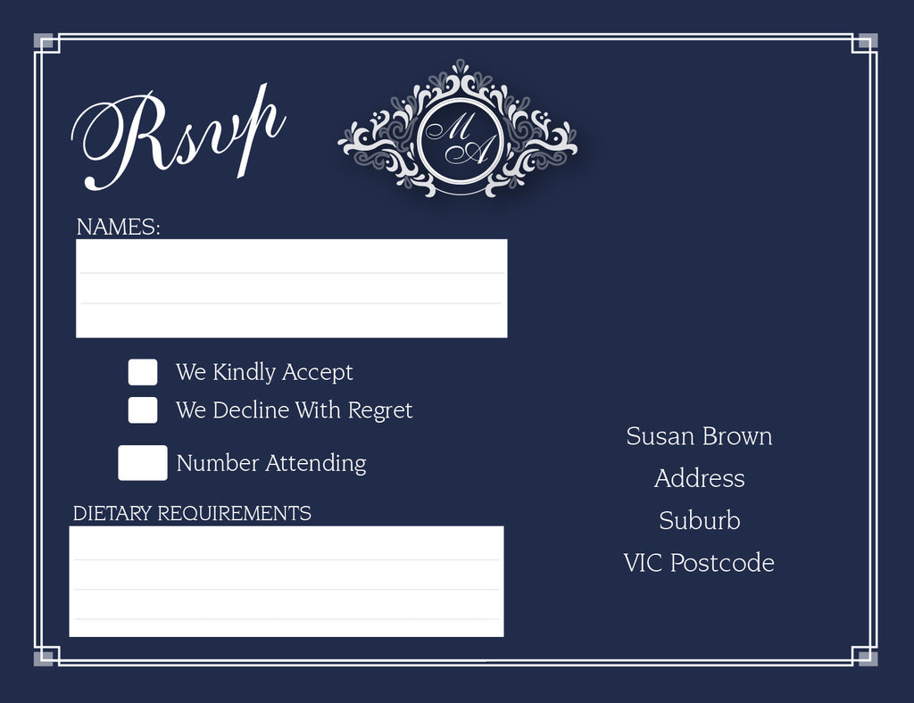 Navy and white wedding invitation RSVP card,