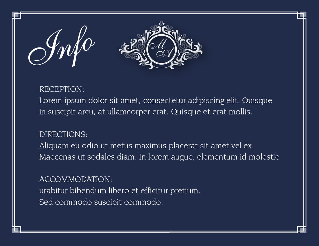 Navy and white wedding invitation Information card,
