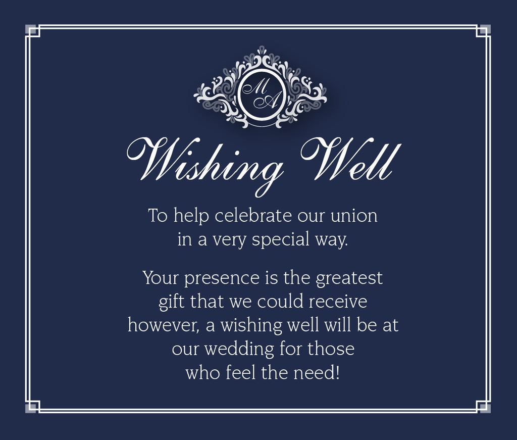Navy and white wedding invitation wishing well card,