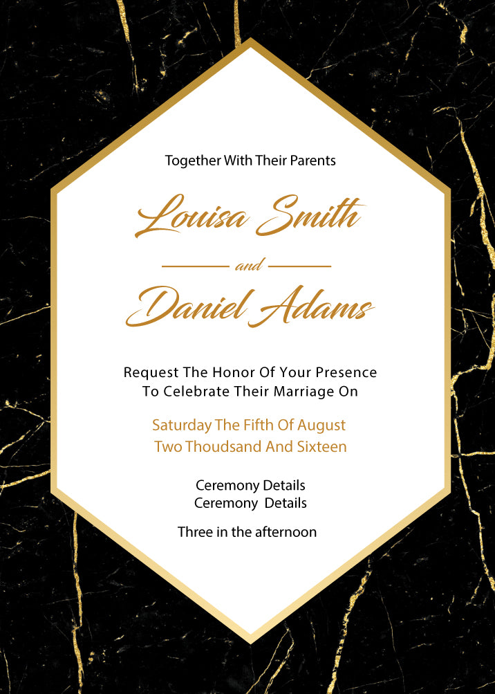 black and gold marble wedding invitation,