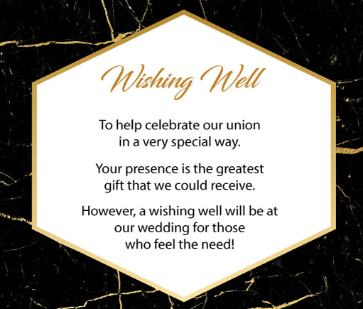 black and gold marble wedding invitation wishing well card,