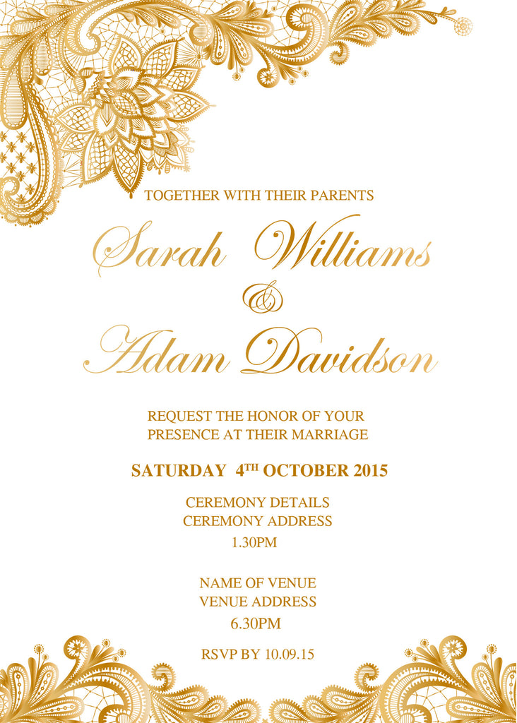 White with gold floral lace wedding invitation,