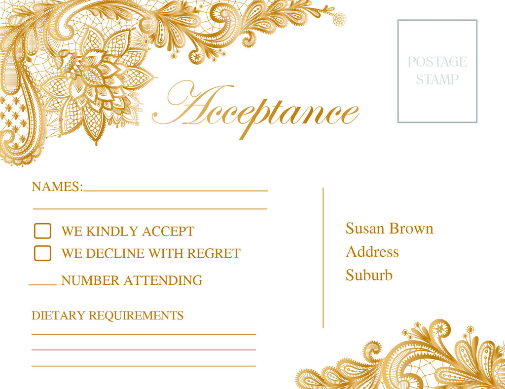 White with gold floral lace wedding RSVP card,