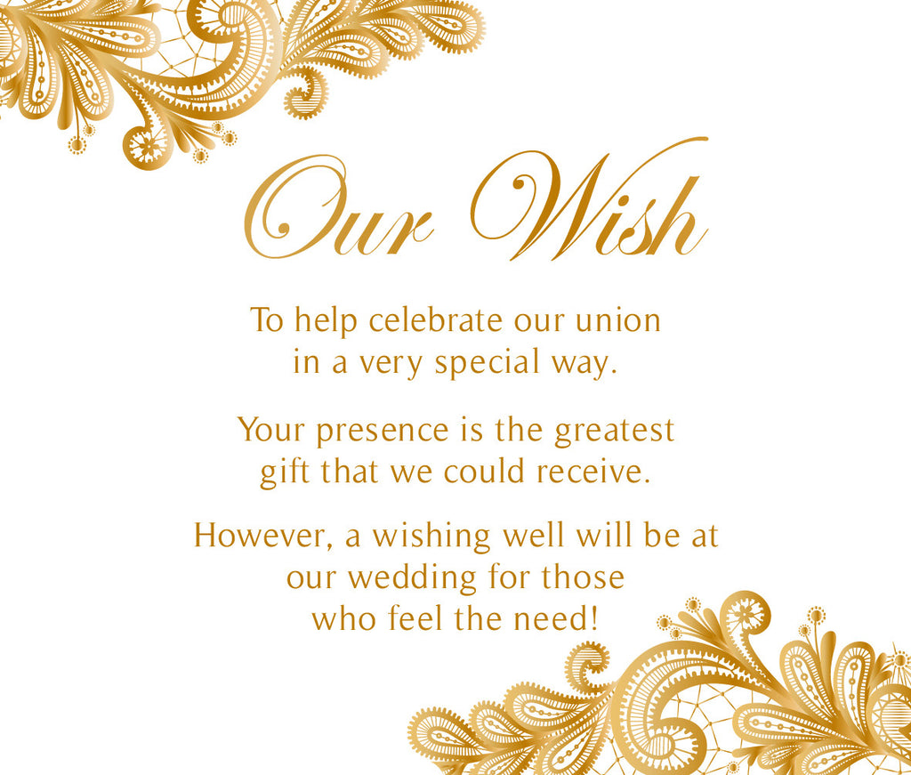 White with gold floral lace wedding wishing well card,