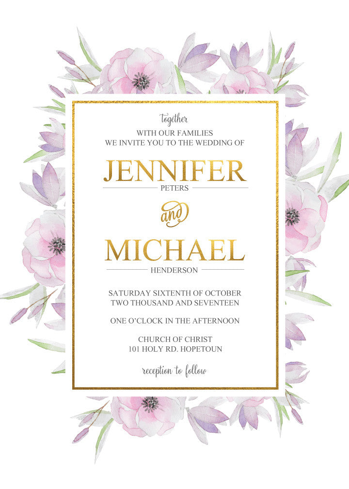 Pink and purple floral with gold wedding Invitation,
