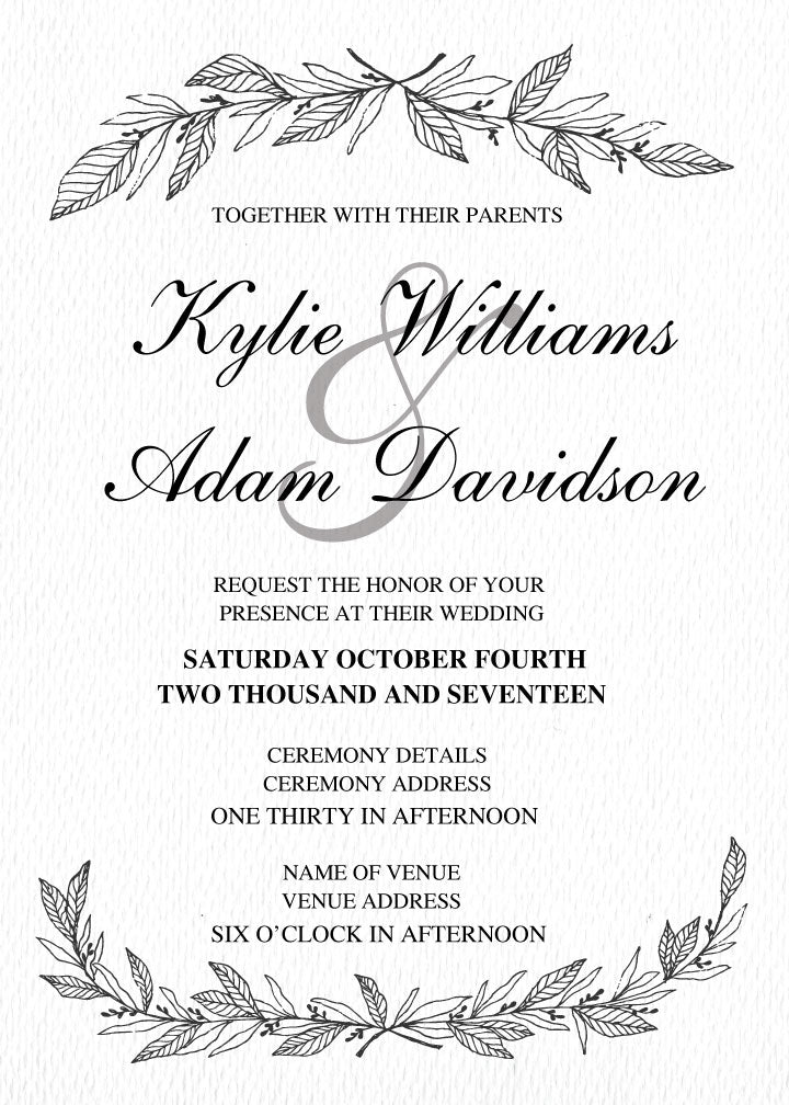 Plain white with wreath wedding invitations